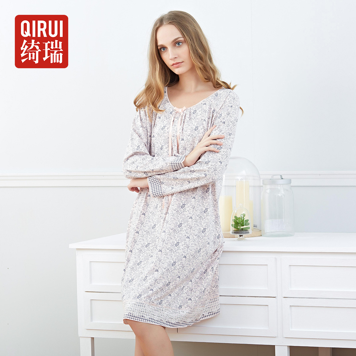 Qi rui pajamas female spring and autumn long sleeve cotton nightgown tracksuit modal female models elegant sweet floral skirt