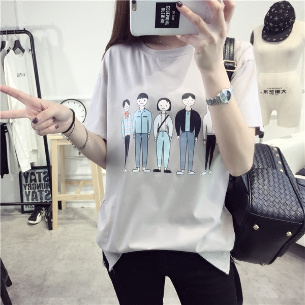 Qiç±³short sleeve t-shirt women students korean version of compassionate tops spring and summer clothes 2016 spring new wave of korean fan