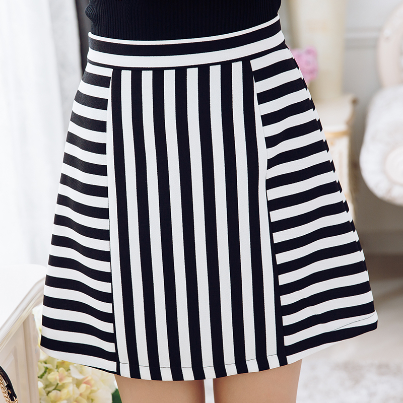Qian fei mei 2016 summer korean large size women fat mm black and white striped skirt skirts umbrella skirt skirt fashion wild