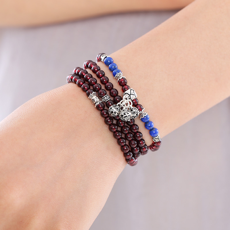 Qian mu natural burgundy garnet crystal bracelet female necklace multilayer bracelets jewelry bracelet ms. bracelet