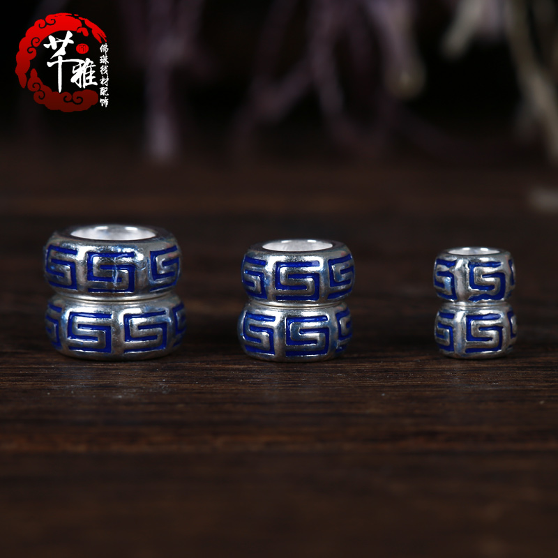 Qian ya 925 silver drip blue new carved spacer spacer spacer beads diy xingyue bodhi accessories diy accessories