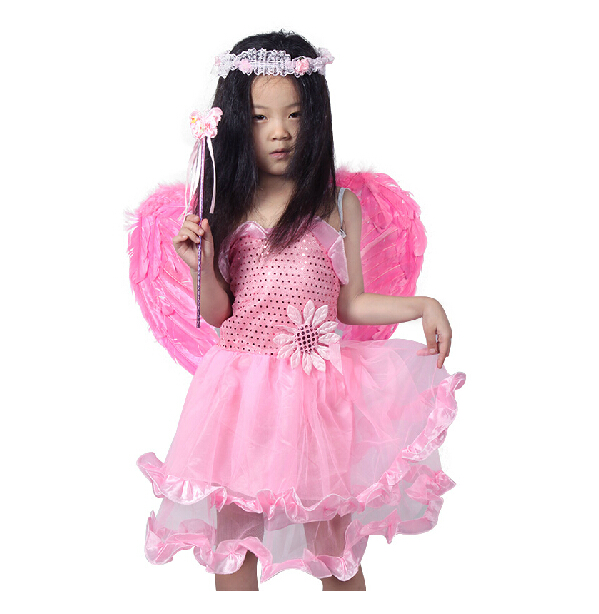 Qiao shi ting child costume dance performances props princess pink feather wings denim skirt