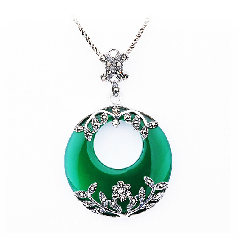 Qibao tree 925 silver necklace female accessories thai silver opal pendant retro jewelry jewelry natural agate