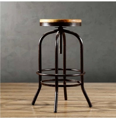 Get Quotations · Qicho helping adult american vintage wrought iron wood bar  stool high stool bar chair lift front
