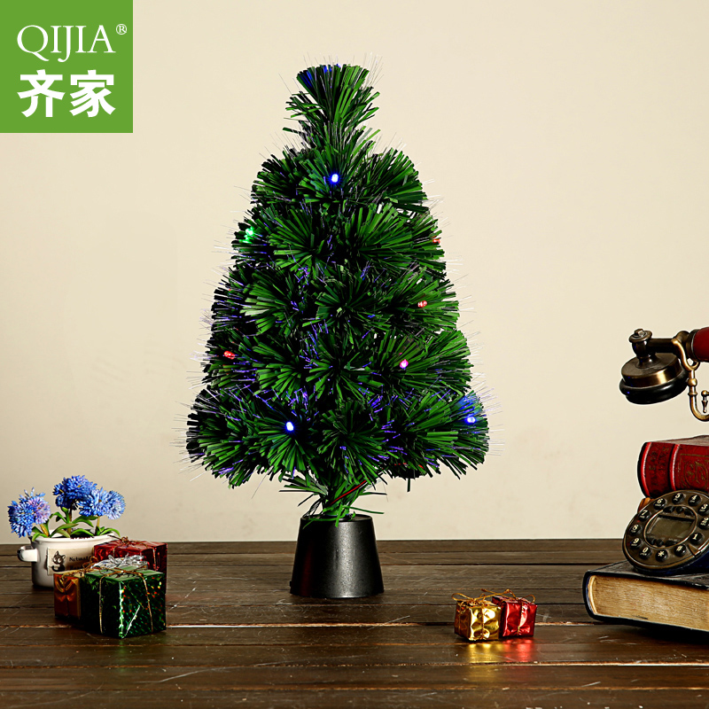 Qijia 45CM fiber optic tree colorful lights christmas tree ornaments mini desktop small bar decorated christmas tree