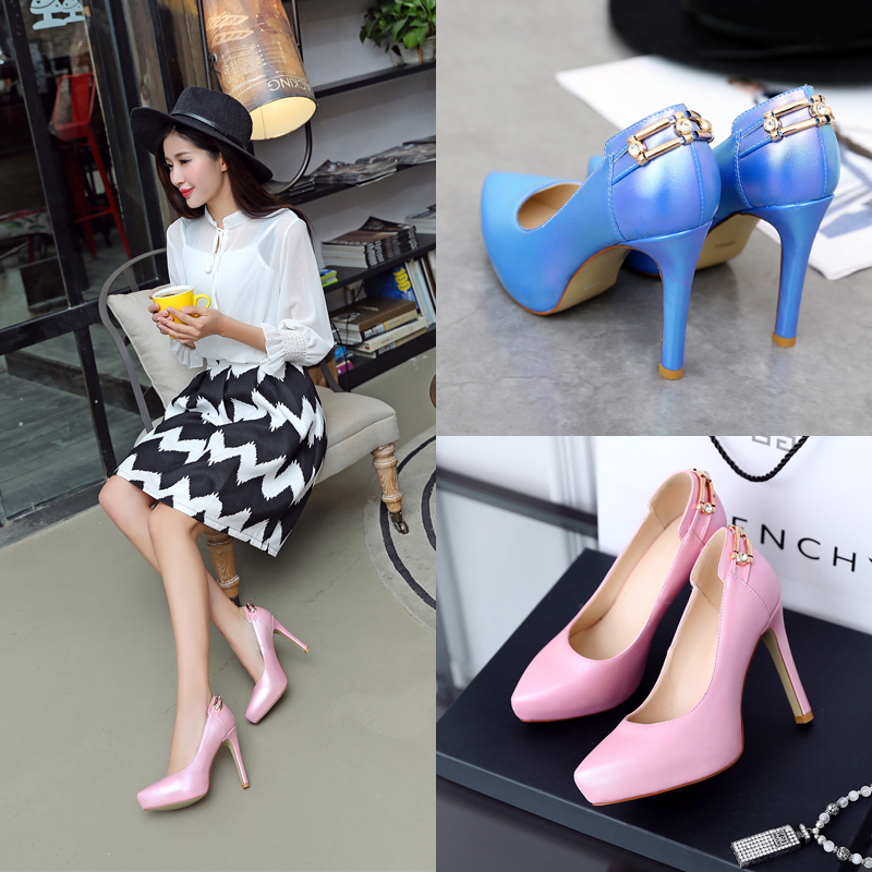 Qin hui 2016 spring new sexy fine with waterproof taiwan pointed shoes women high heels shallow mouth set foot female shoes tide