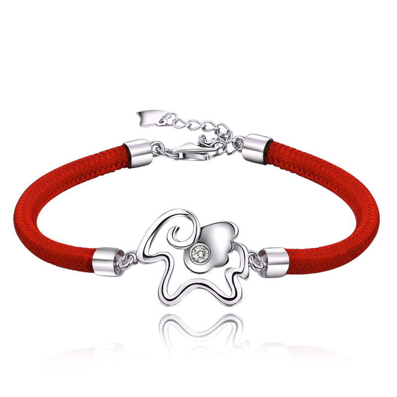 Qin margin of 925 silver plated zodiac sheep red string bracelet handmade knitting female jewelry birthday gift