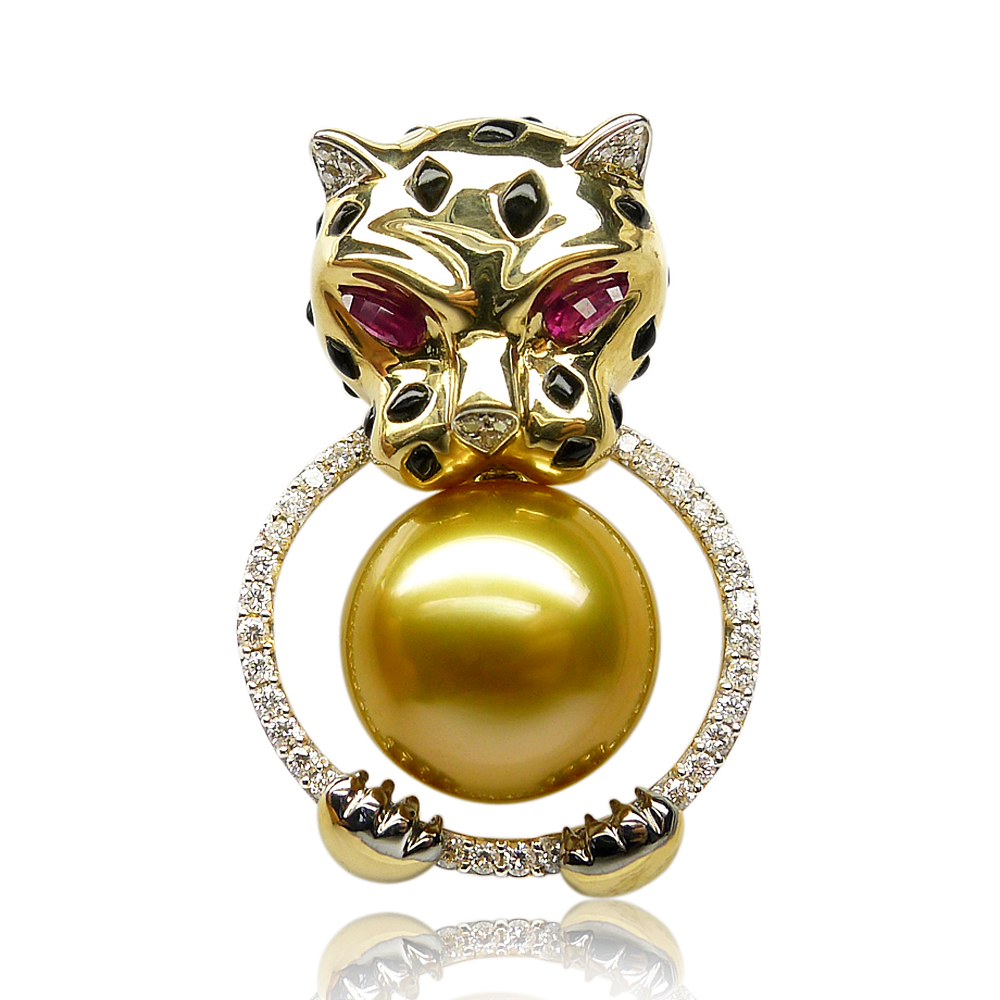 Qin think [12.05ct cheetahcheetahs] golden south sea pearl sea pearl pendant 30MM when shang domineering custom models