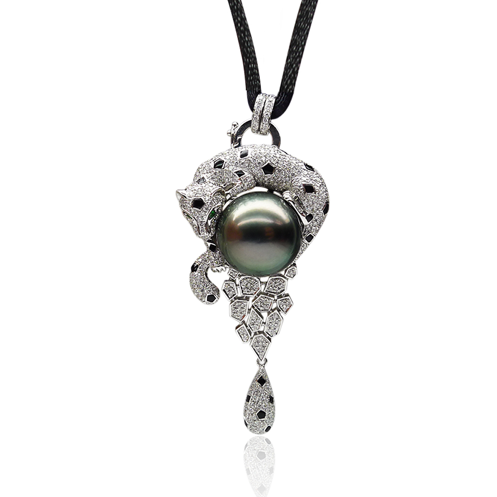 Qin think [cheetahcheetahs] tahitian black pearl pendant necklace pendant brooch collection 16.30MM18K gold diamond