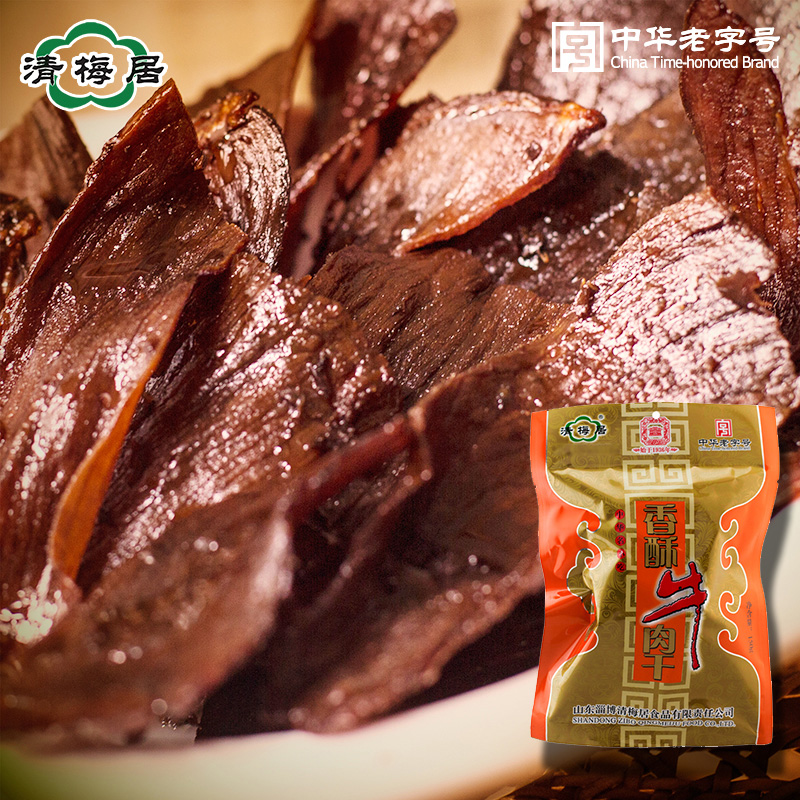 Qing mei habitat crispy beef jerky 150g color equipment factory direct shandong specialty chinese snack halal food