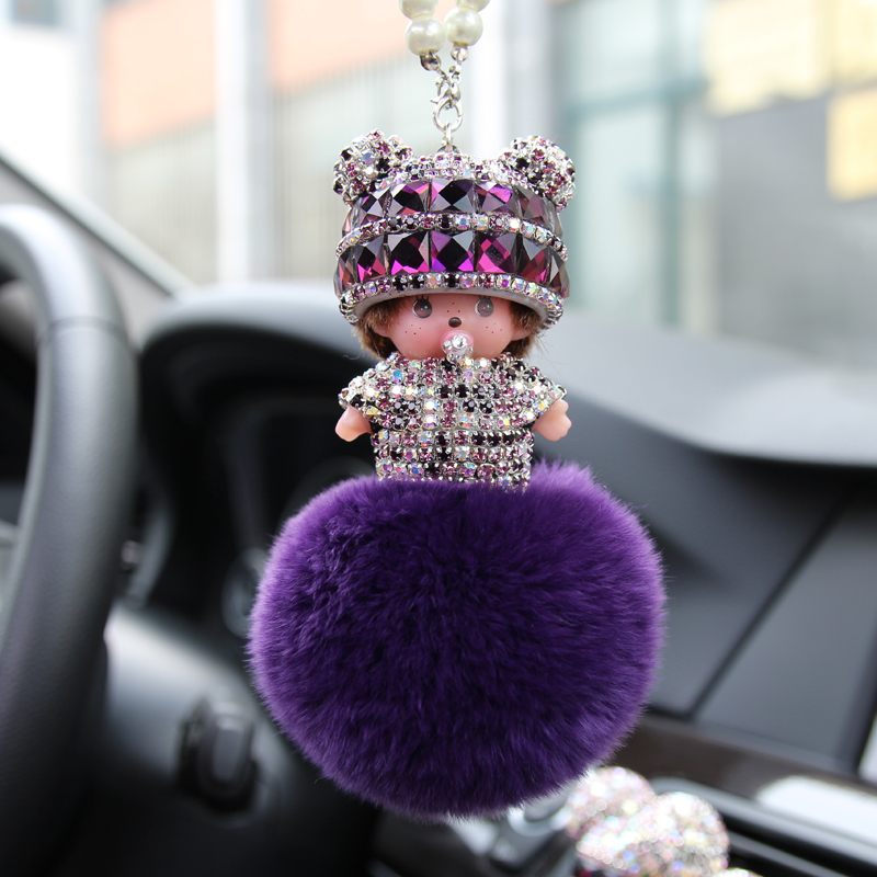 Qiqi car keychain crystal car pendant car ornaments car rearview mirror car diamond ornaments