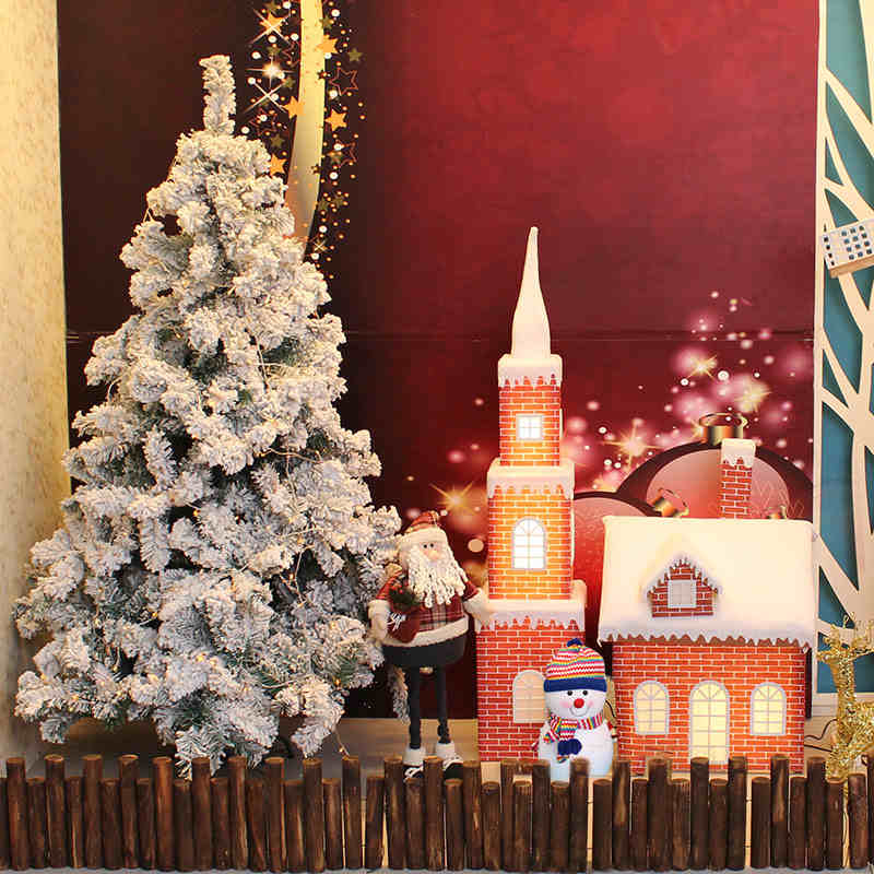 Qixuan christmas decorations christmas decoration kits warm christmas christmas shopping window decoration