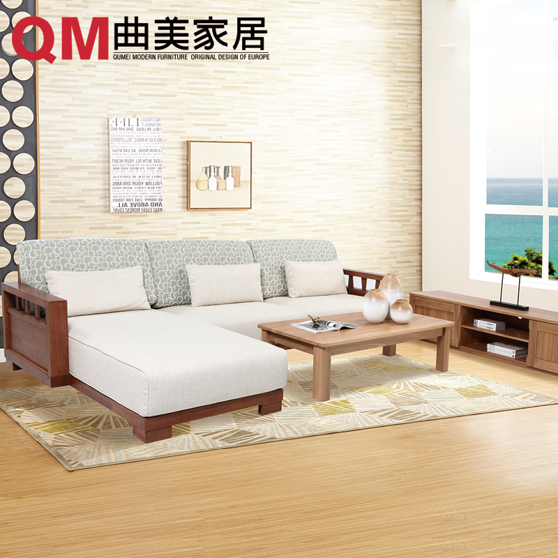 Qu mei furniture home cournot interior wood modern minimalist living room bedroom den restaurant combination of a full meal