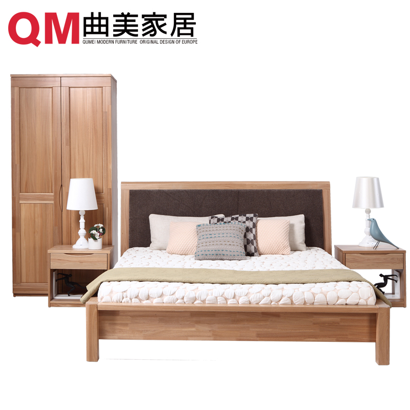 Qu mei furniture home minimalist bedroom cournot combo pure elm wood furniture bed + wardrobe bedside cabinet +