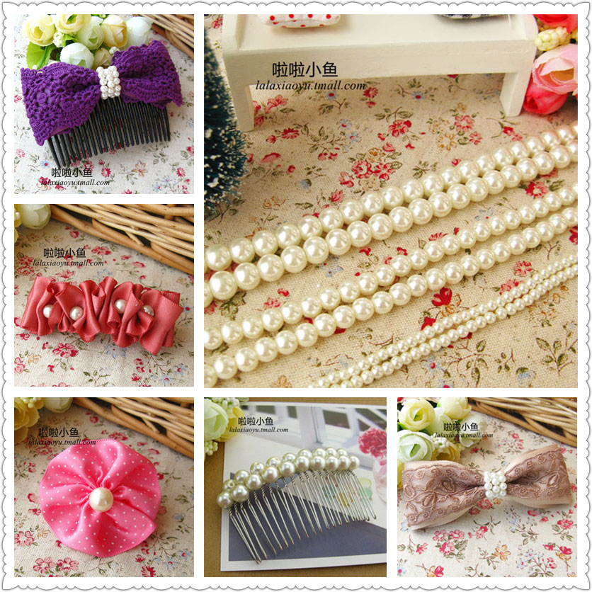Qualities of a hole imitation pearl bow hair ornaments handmade headdress hairpin hairpin handmade diy novice material accessories