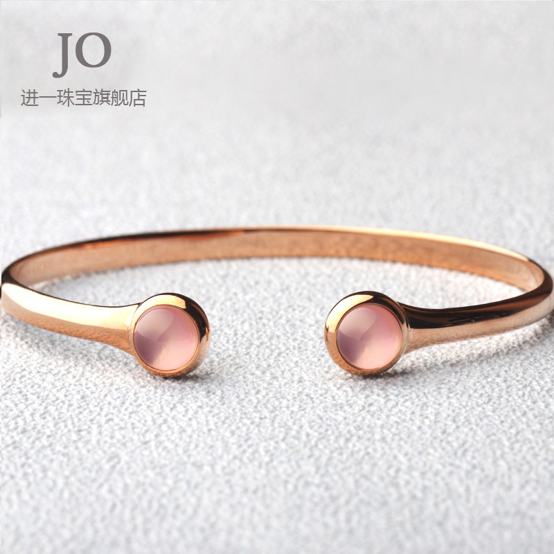 Quartz natural rose quartz bracelet 925 silver bangles korean fashion gem crystal female jane about gifts