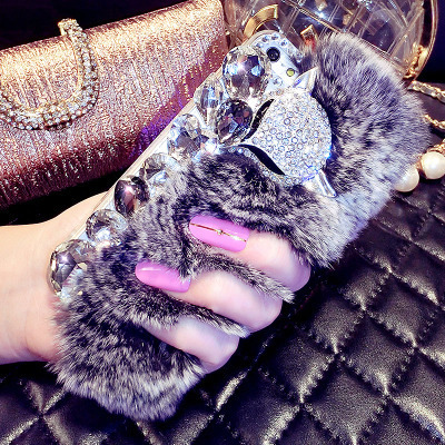 R9 oppe phone shell transparent half a pack of R9M oppor9tm rhinestone hard shell protective sleeve tide female rabbit fur ball