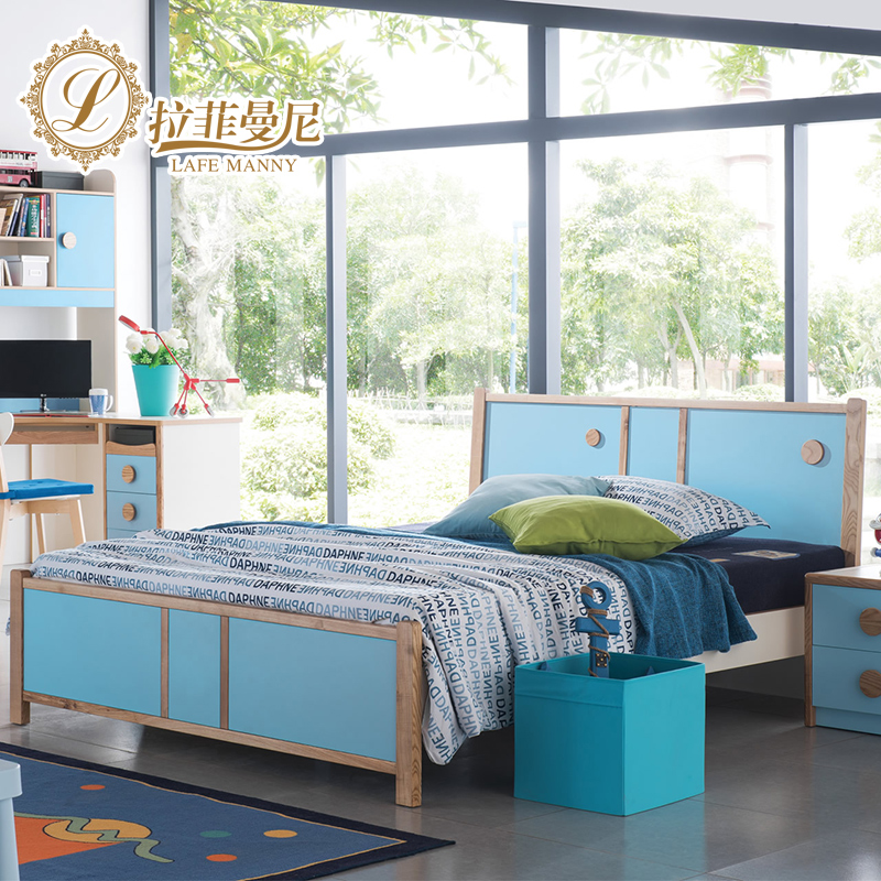 Rafi manny american rural countryside of solid wood children's beds bed 1.5 m boys and girls bedroom bed storage