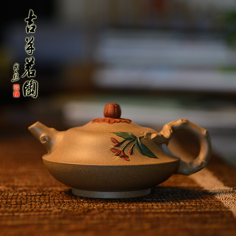 Ram ming tao yixing teapot famous pure handmade yixing teapot ore teapot home possession of the old section of mud decalcomania han flat