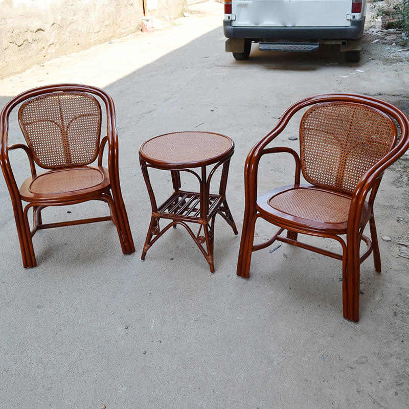 Rattan chair rattan chair leisure chair balcony outdoor wicker chair wicker chair coffee table combination of three sets of wicker chair office chairs for the elderly