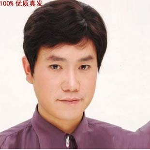 Real hair wig can liss handsome man with short hair real hair wig wig middle-aged men male 024