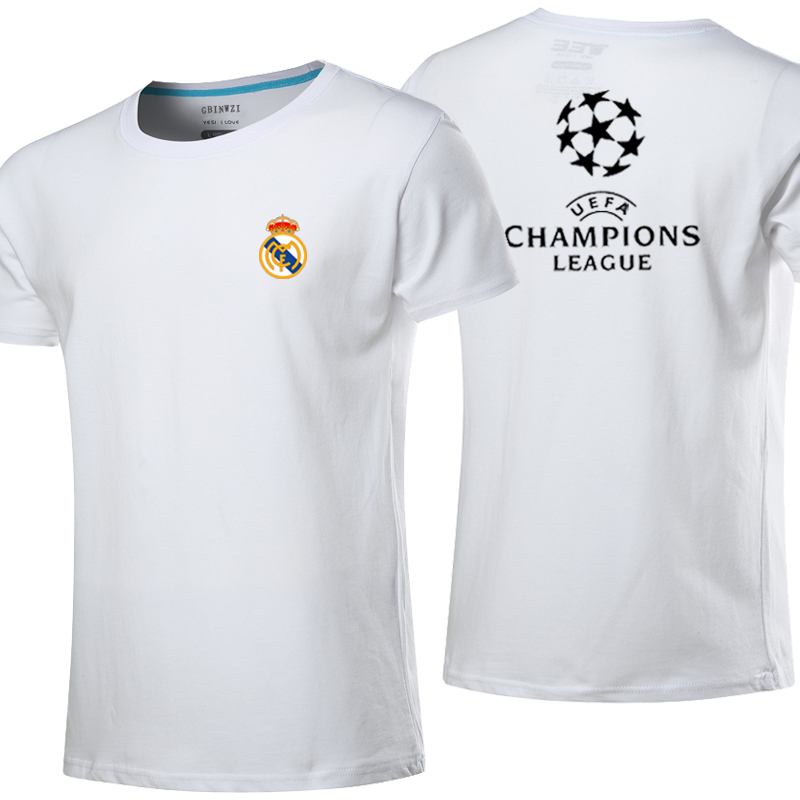 Real madrid real madrid champions league football clothes men short sleeve t-shirt cotton sport short sleeve t-shirt shirt ball suit race suit