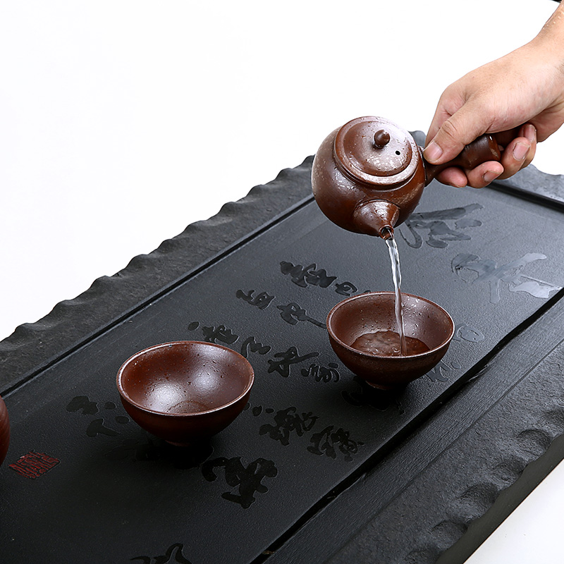 Really large black stone tea tray filled with natural piece of black stone tea tray tea tray tea zen tea blindly tea saucer sets