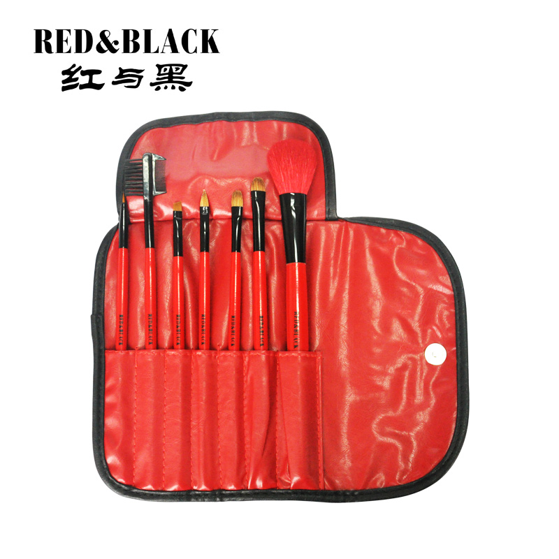Red and black makeup 7 portable beauty makeup brush set brush makeup tools scholars at the beginning of genuine animal hair