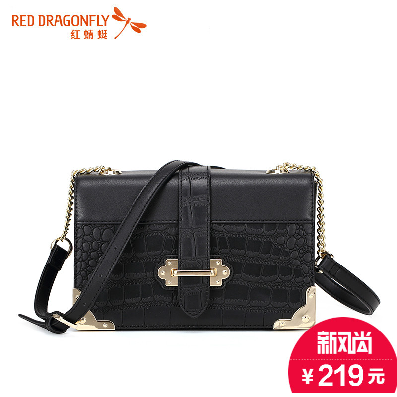 Red dragonfly handbags 2016 summer new small square shoulder messenger bag fashion handbags crocodile pattern casual packet