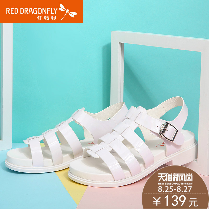 5ff82f74e1d8f Get Quotations · Red dragonfly sandals 2016 summer new korean version of  the low heel shoes rough with roman