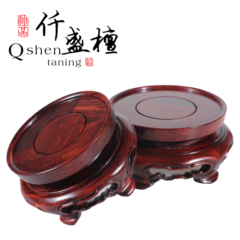 Red round flowerpot base crafts ornaments carved tall wooden base teapot jade stone pedestal wooden pallet base