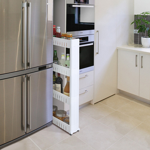 Refrigerator crevice crevice storage rack kitchen rack bathroom shelf plastic shelving storage rack with removable pulley