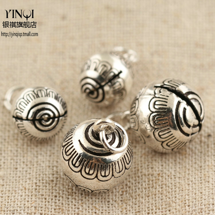 Regards s925 silver thai silver jewelry accessories diy accessories spiral pattern bell pendant hanging pieces of bracelets bracelet handmade accessories