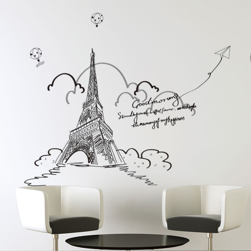 Removable wall stickers bedroom living room sofa wall decoration european architecture and creative eiffel tower