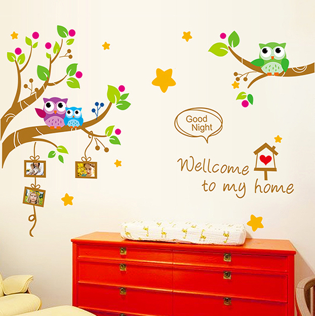 Removable wall stickers cartoon cute owl photo stickers wall stickers nursery wall stickers children's room decor wood adhesive