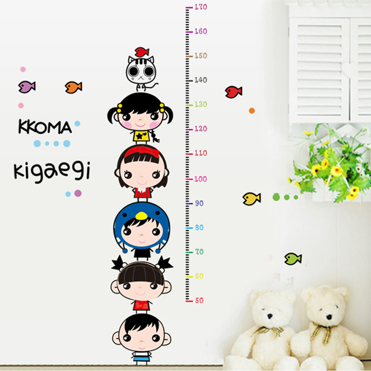 Removable wall stickers children cartoon stickers wall stickers children's room measuring height stickers