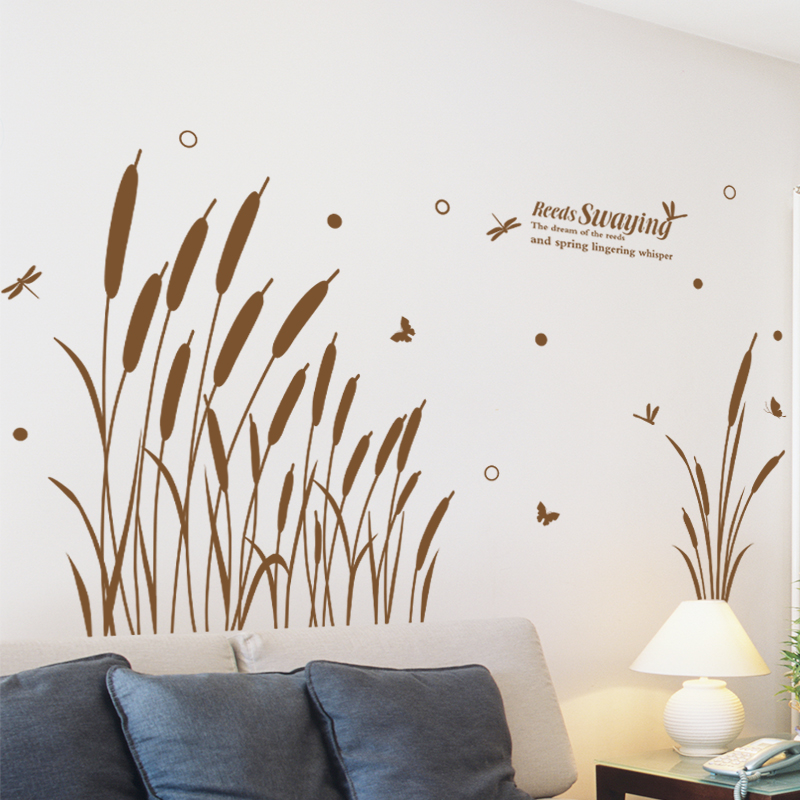 Removable wall stickers living room sofa background decorative wall painting beautiful klimts reed grass skirting waist