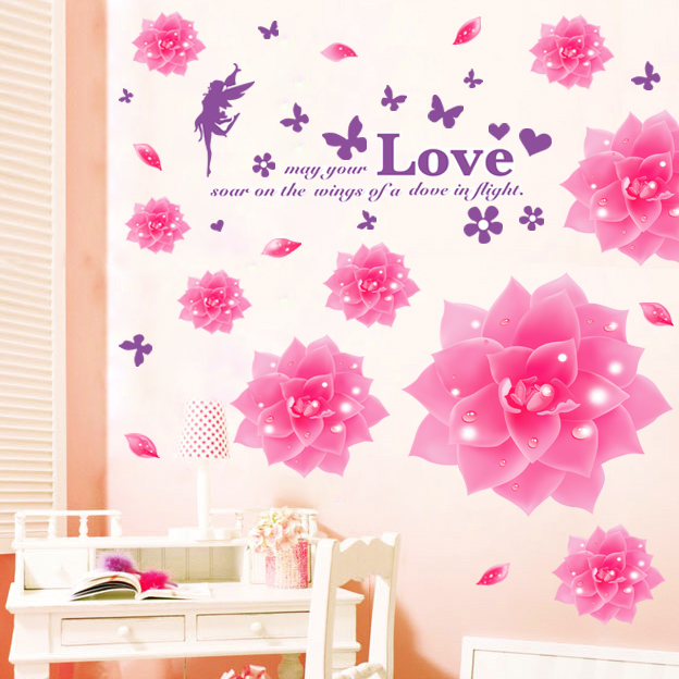 Removable wall stickers romantic aesthetic marriage room bedroom wall painting decorative painting the living room pink camellia flower wall stickers klimts