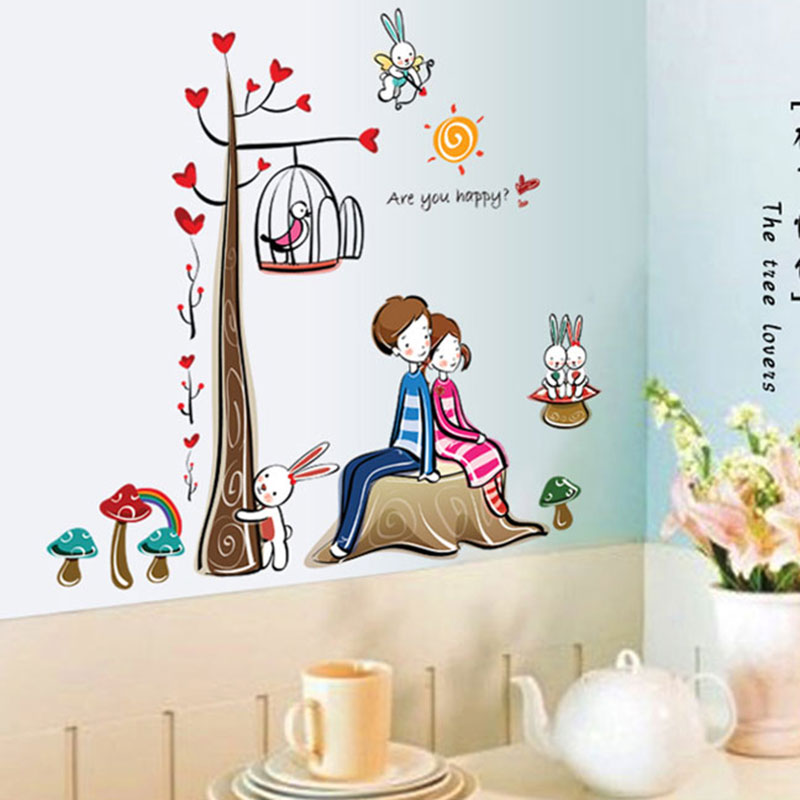 Removable wall stickers romantic bedroom cartoon sticker decorative tree lovers loving self adhesive stickers love birdcage