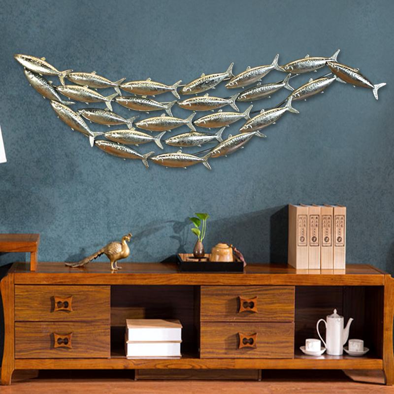 Retro do the old wrought iron wall decorations decorative wall hangings fish wall hangings creative wall hangings fish wall decorated with three-dimensional wall hangings fish