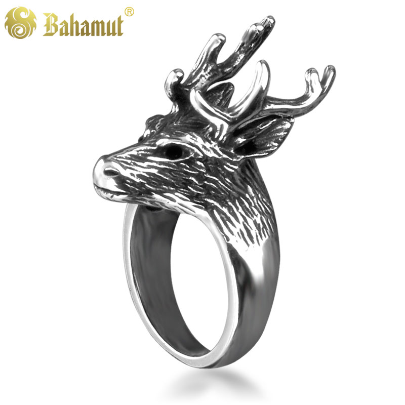 Retro fashion jewelry titanium steel men's rings a song of ice and fire carved deer ring ring male models male
