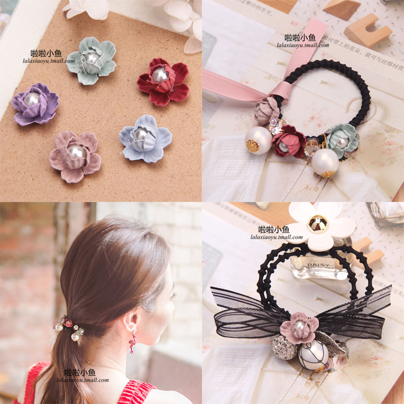Retro flower buds with beads diy handmade flower hair accessories hairpin hairpin korean hair jewelry accessories material bow
