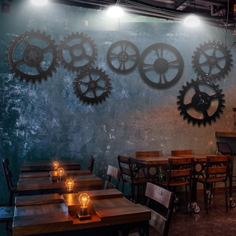 Retro industrial wind gear 1元shop storefront wall decorations bar restaurant creative wall hanging indoor decoration