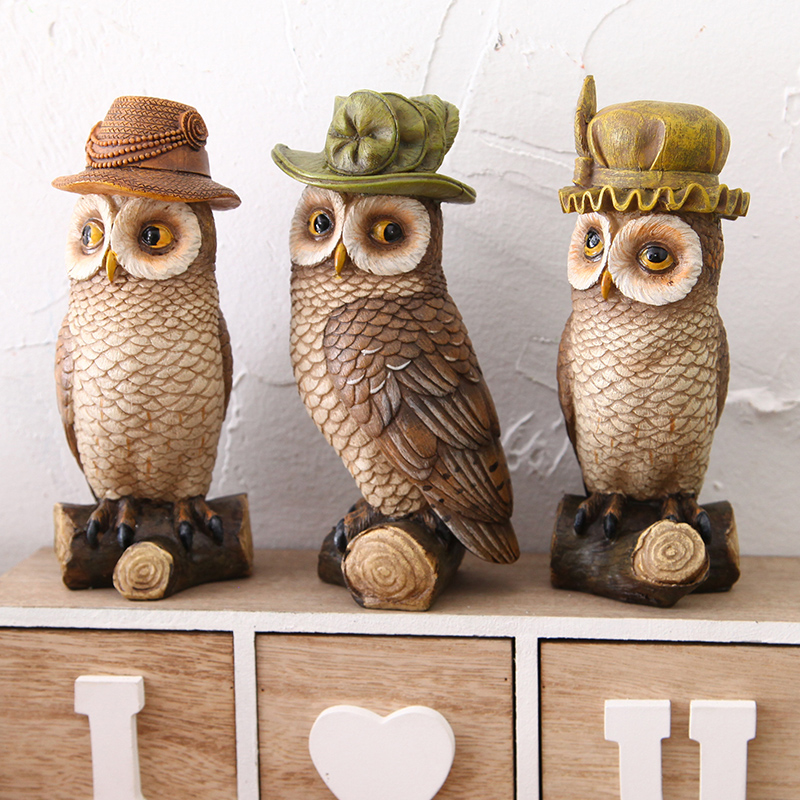 Get Quotations · Retro Owl Ornaments Resin Crafts Furnishings Creative Home  Decor Living Room Bedroom Shop Window Decorations Soft