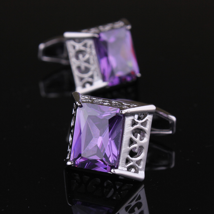 Return of the king purple diamond cufflinks cufflinks cufflinks male french shirt cuff cufflinks for men cufflinks