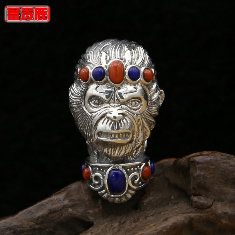 Rich deer s925 silver fashion beads accessories tee buddha head pendant pendant in sterling silver thai silver inlay red monkey