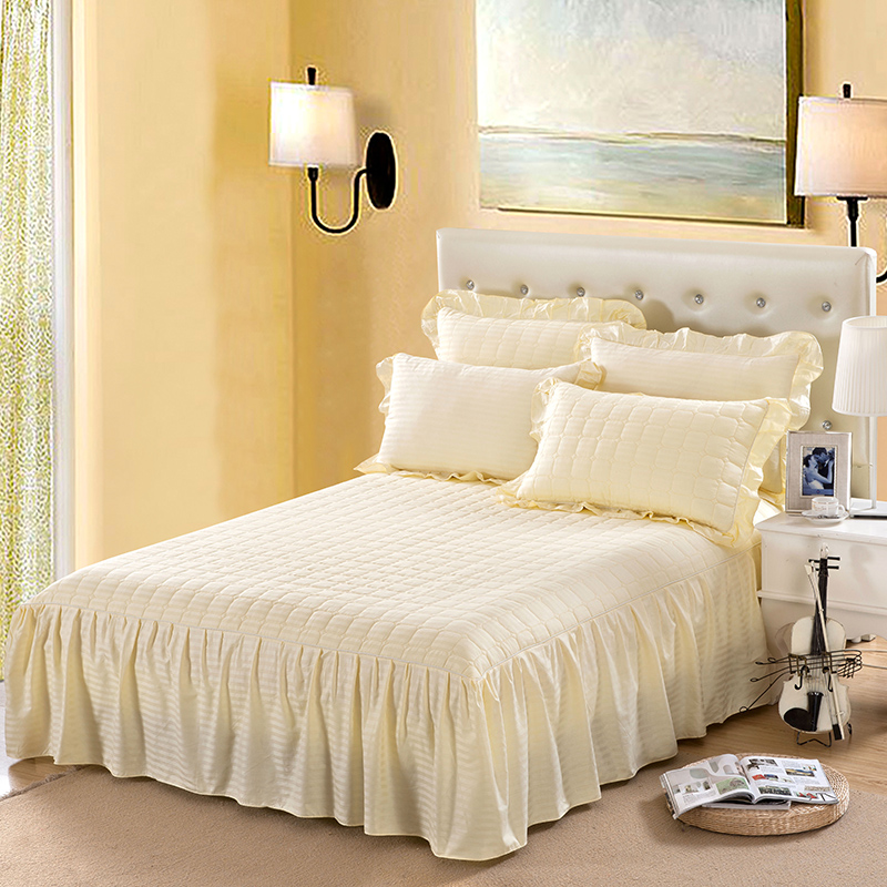 Rich whitney cotton quilted bedspread bed skirt single piece of autumn and winter thick cotton and cotton bed sets bed special clearance