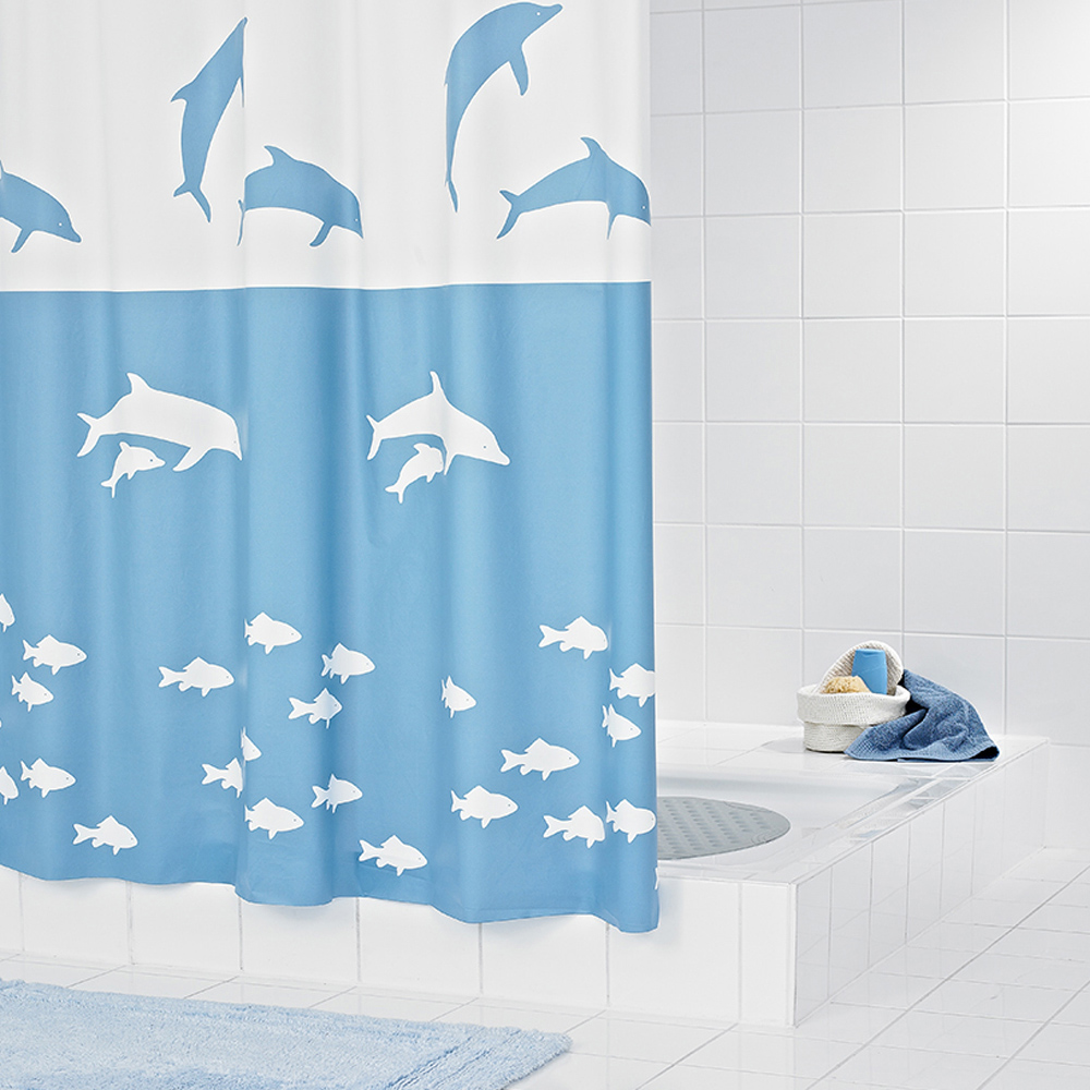 Ridder imported from germany cartoon dolphin thick eva waterproof shower curtain fabric shower curtain mildew warm 32333