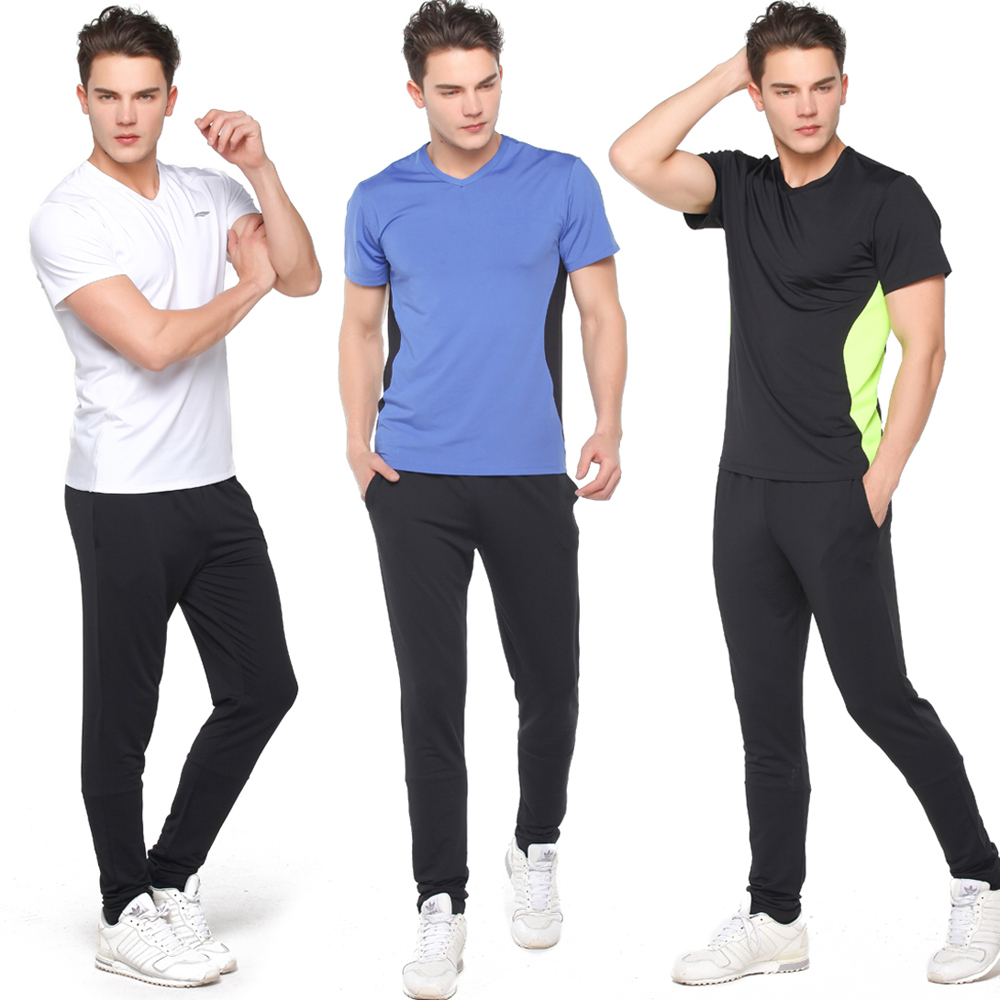 Road iraqi vatican workout gym male tight sports jogging suits 2015 new short sleeve spring and summer suit pants feet