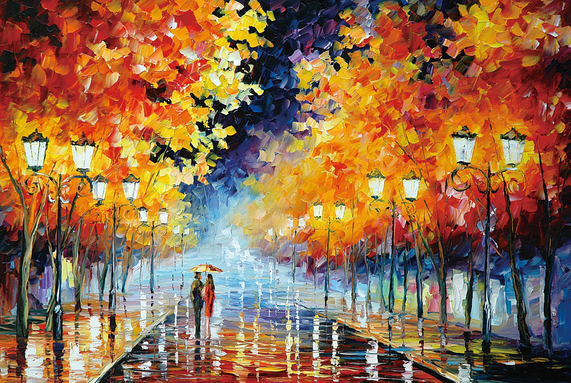 [Robinson] adult art 1000 wooden jigsaw puzzle 500 puzzle romantic love painting series rainy stroll